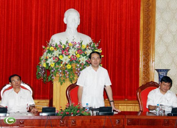 Bộ trưởng Trần Đại Quang tại Hội nghị phát triển cơ cấu hạ tầng giao thông vùng Tây Nguyên, hôm 9/10.