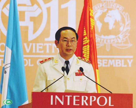 Bộ trưởng Bộ Công an Trần Đại Quang tại kỳ họp Đại hội đồng Interpol lần thứ 80. Ảnh: AFP